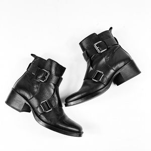 Zara Black Leather Buckle Booties Size 7